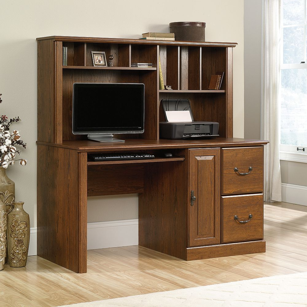 Sauder Computer Desks Hutch Desk Corner Walmart Harbor View Orchard Hills Carolina Oak