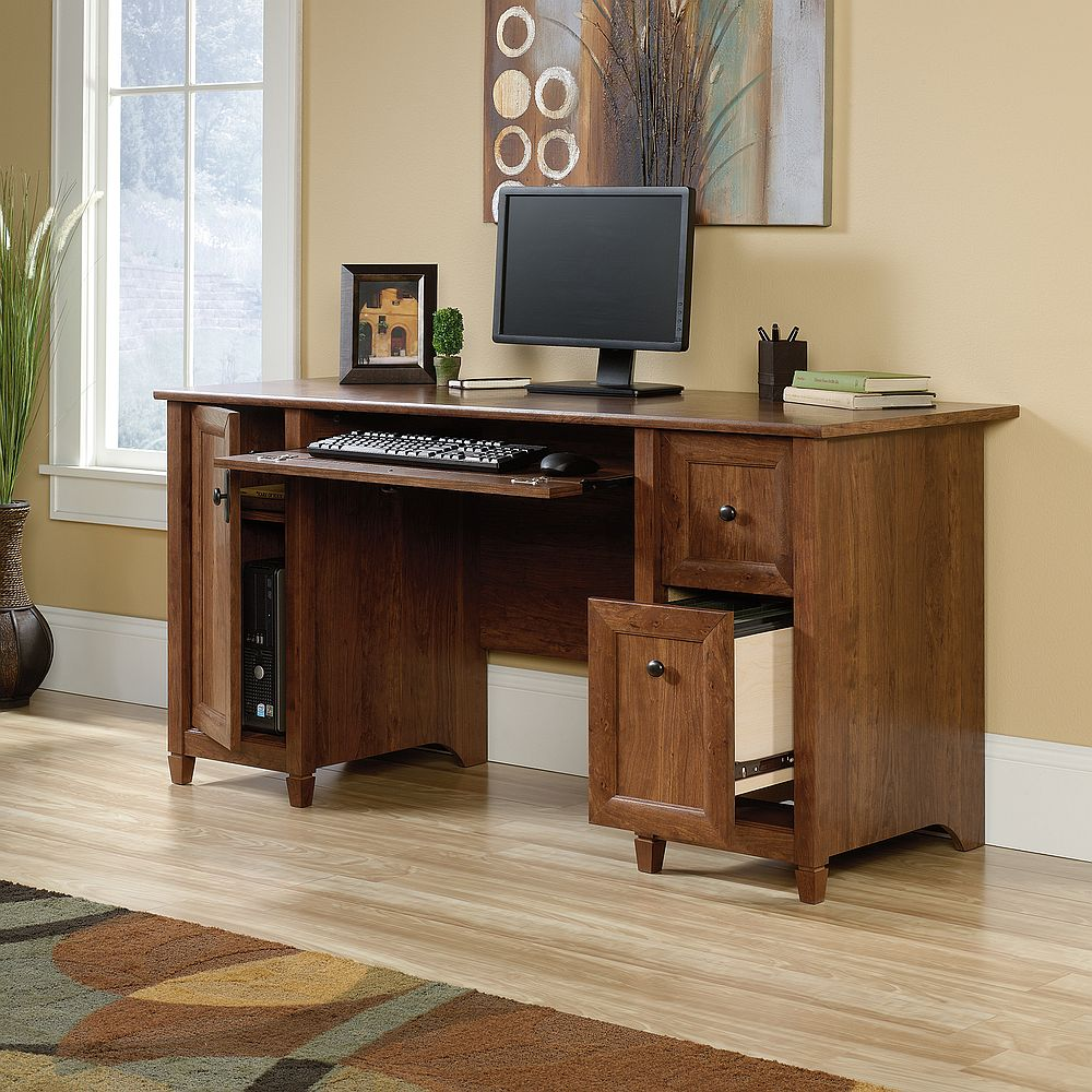 Sauder Computer Desks | Sauder Office Desk | Sauder Harbor View Computer Desk with Hutch