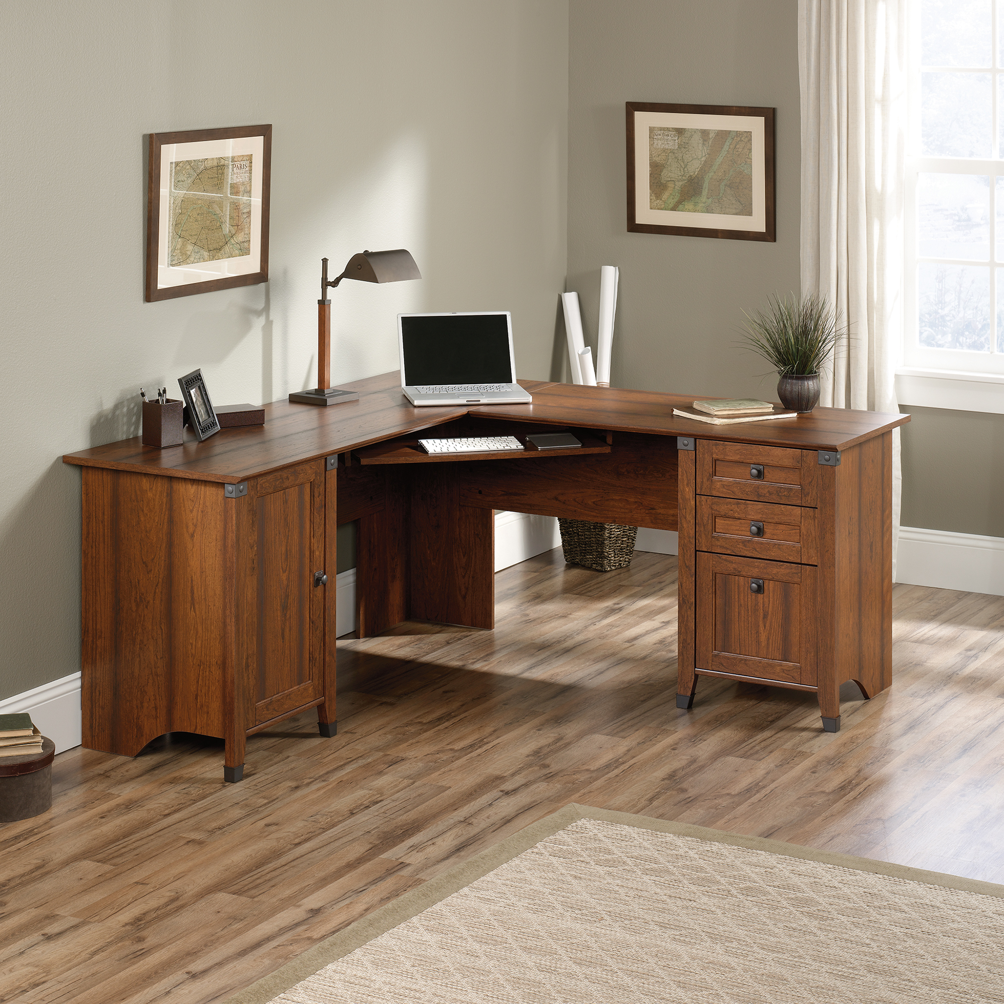 Sauder Harbor View Computer Desk with Hutch Antiqued Paint | Home Office Desk with Hutch | Sauder Computer Desks