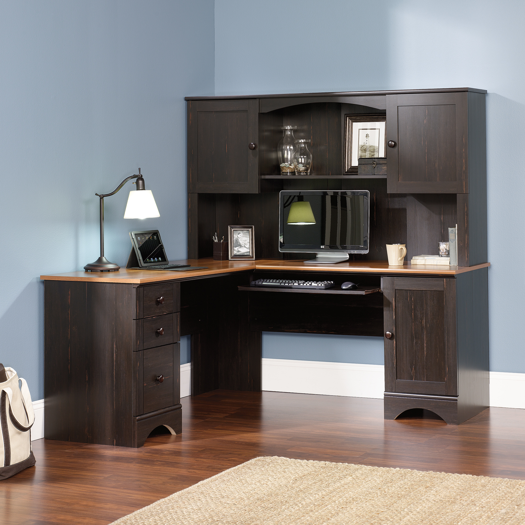 Sauder Harbor View Computer Desk with Hutch Antiqued Paint | Sauder Computer Desks | Hutch Computer Desk