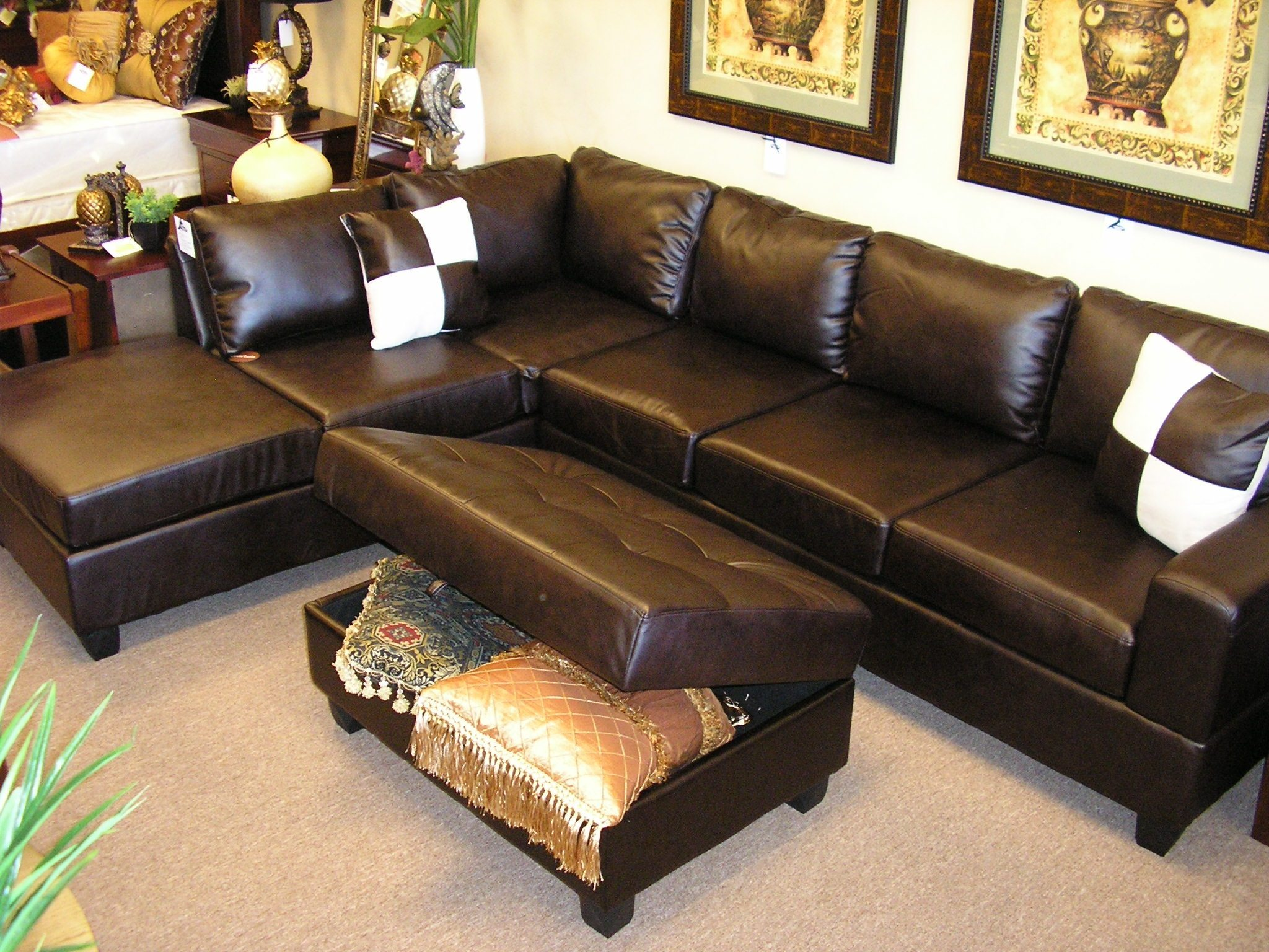 Sectional Sleeper Sofa | Faux Leather Sofa | Large Sectional Sofas