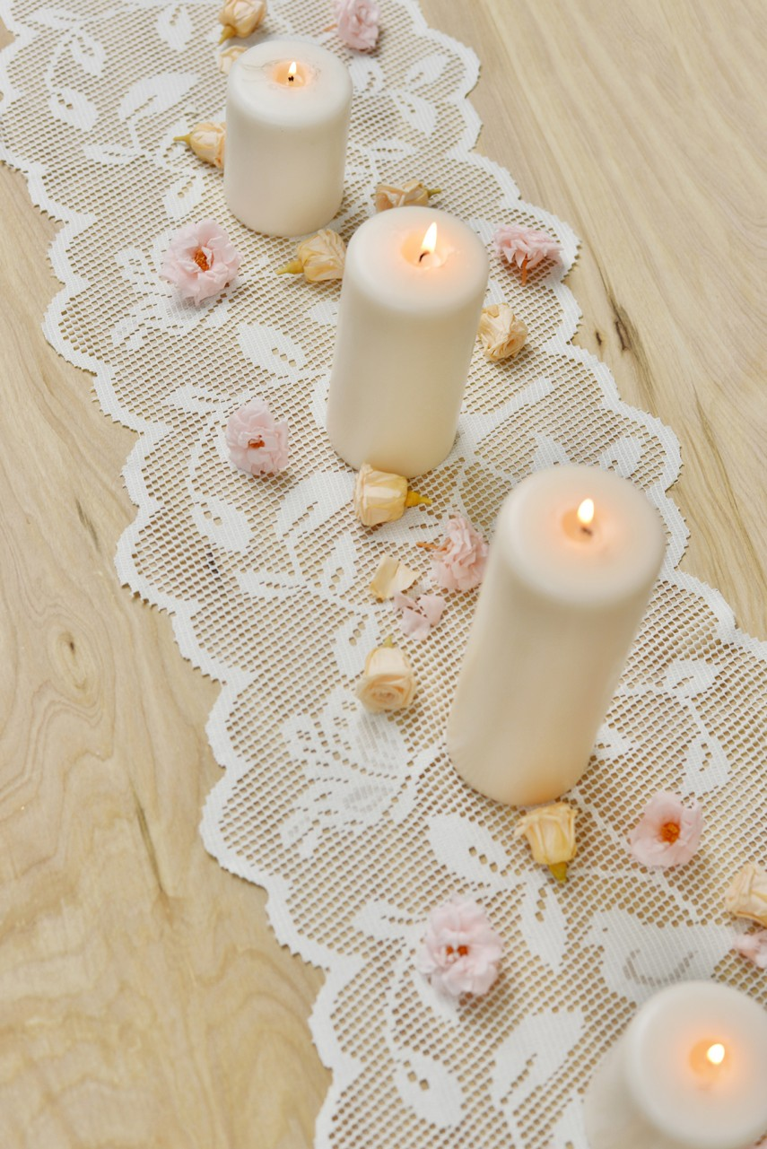 Short Table Runner | Grey Lace Table Runner | Lace Table Runners