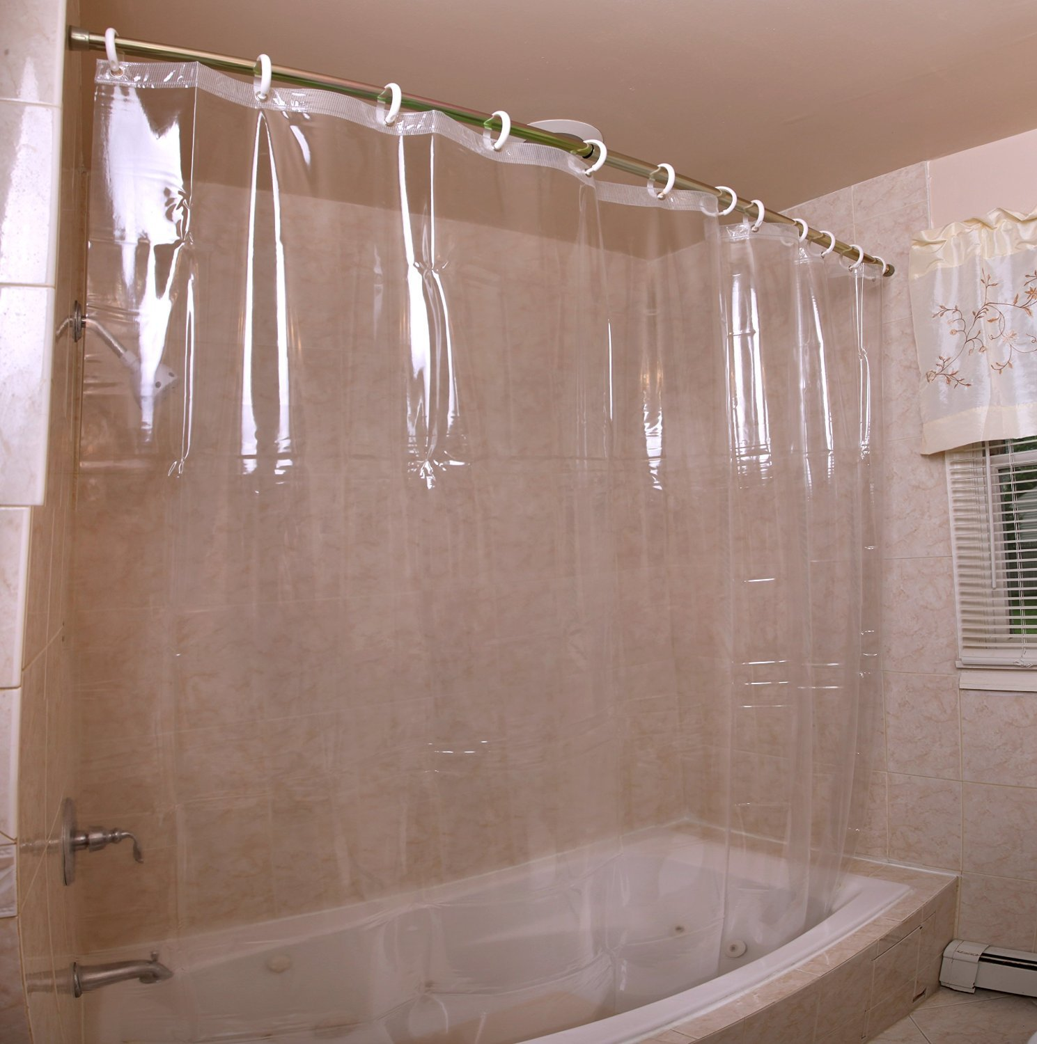 Shower Curtain Liner | Extra Long Fabric Shower Curtain Liner | Shower Curtain with Liner