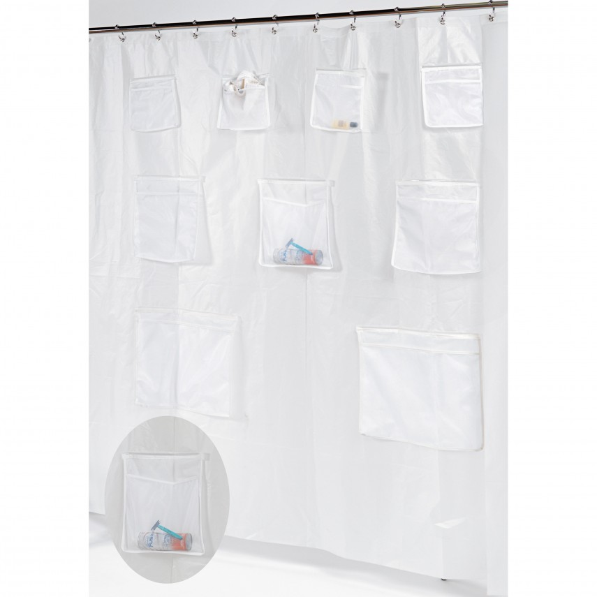 Shower Curtain Liner | Hookless Fabric Shower Curtain With Snap Liner | Nylon Shower Curtain Liner