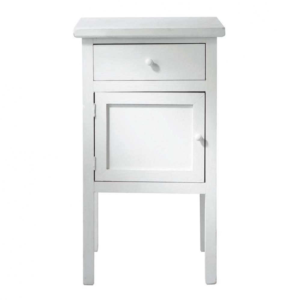 Side Table with Drawer | Cherry Finish Nightstand | Narrow Nightstand