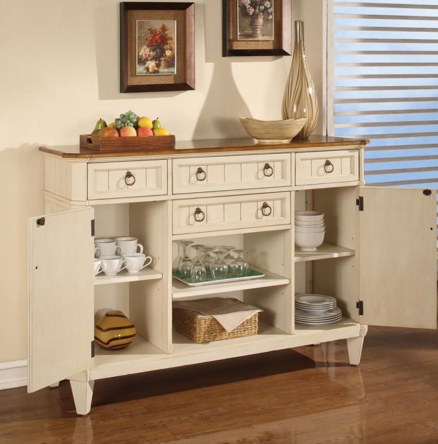 Sideboards And Buffets Contemporary | Buffets And Sideboards | White Hutch With Glass Doors