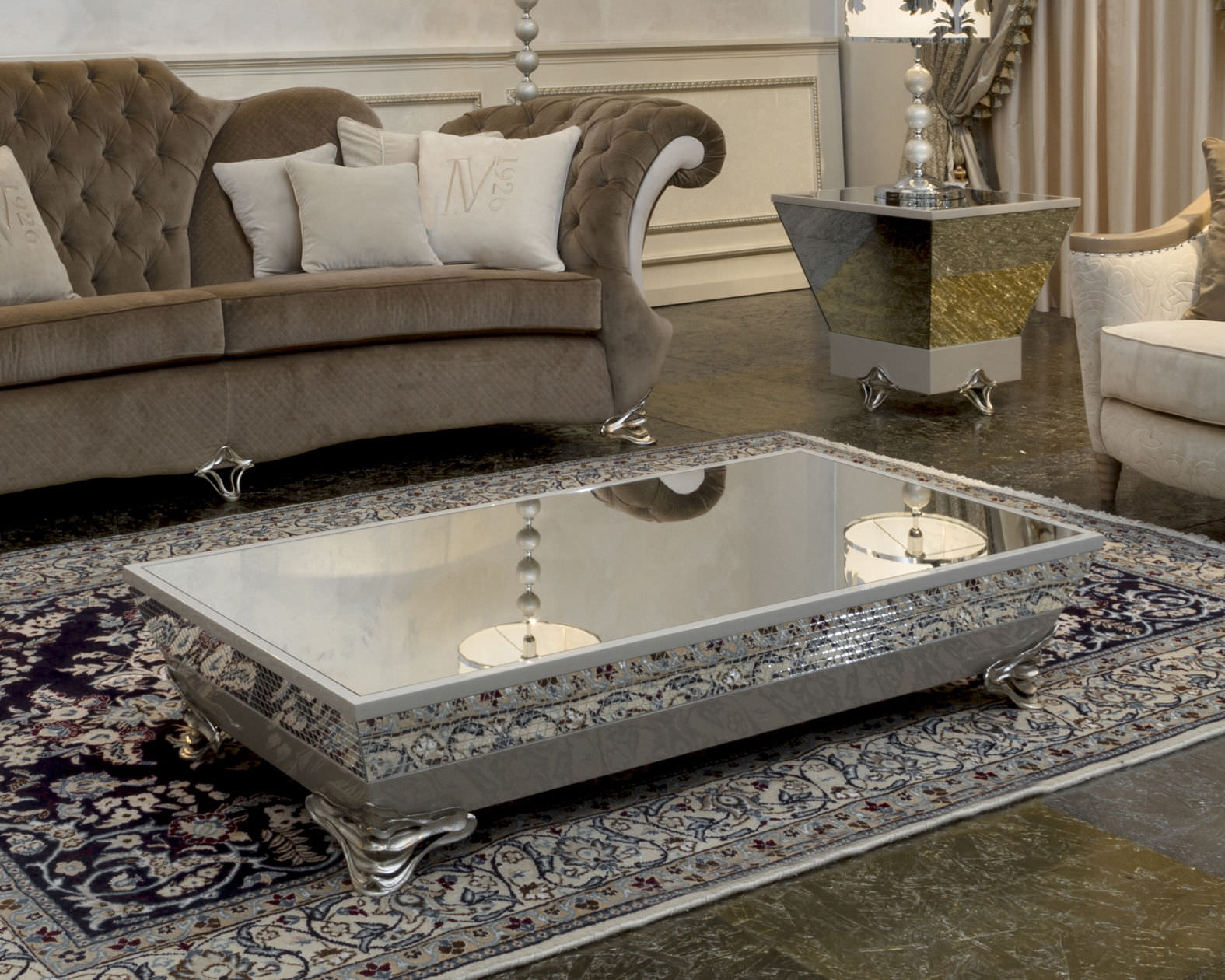 Small Oval Coffee Table | Mirrored Side Table with Drawer | Mirrored Coffee Table