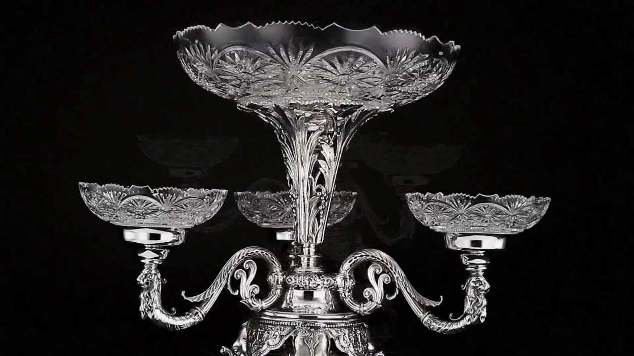Using Antique Epergne for Dining Table Accessories Ideas: Snazzy Fenton Glass Epergne | Beautiful Epergne