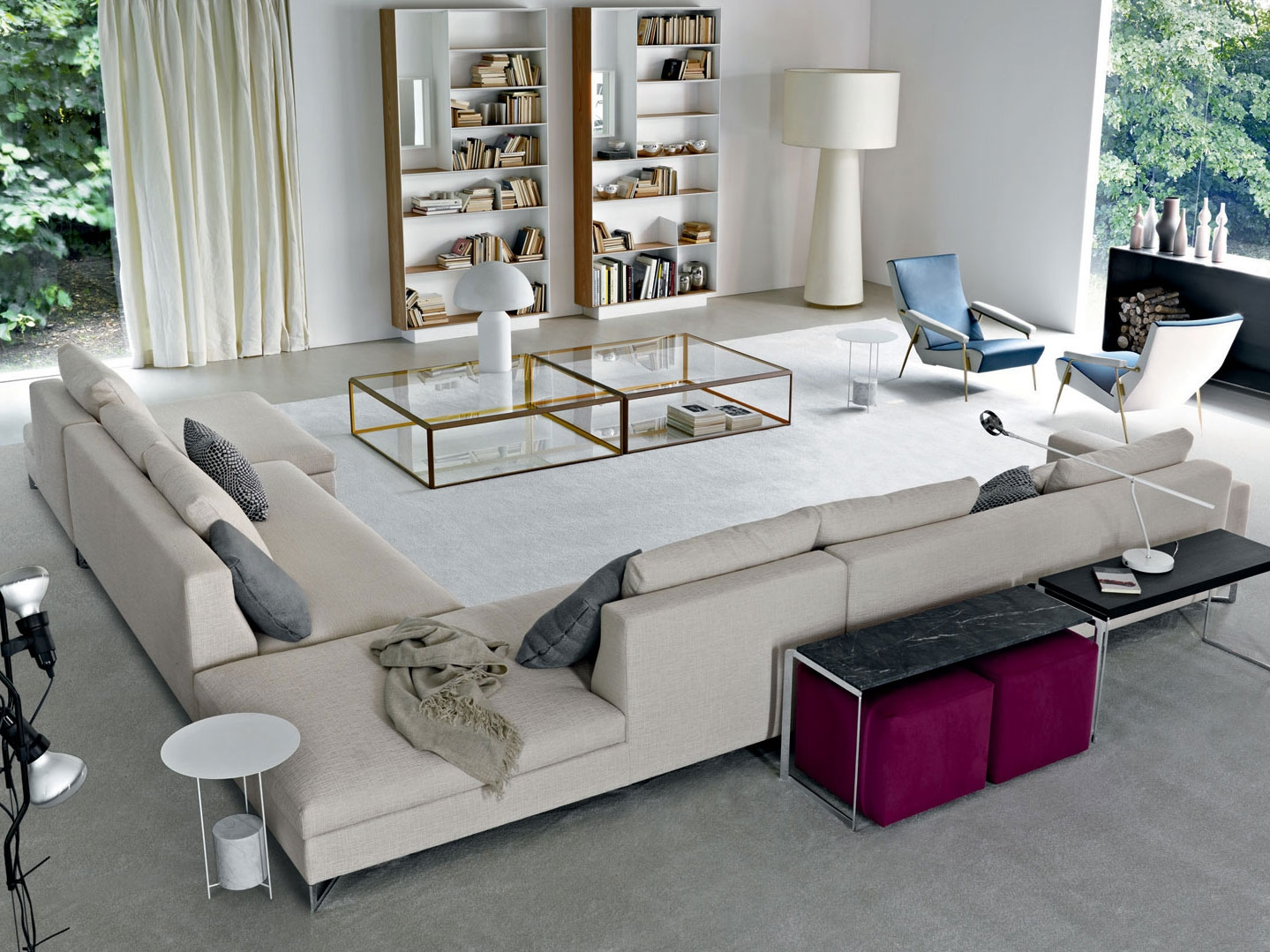 Sofa with Chaise Lounge | Tufted Sectional | Large Sectional Sofas
