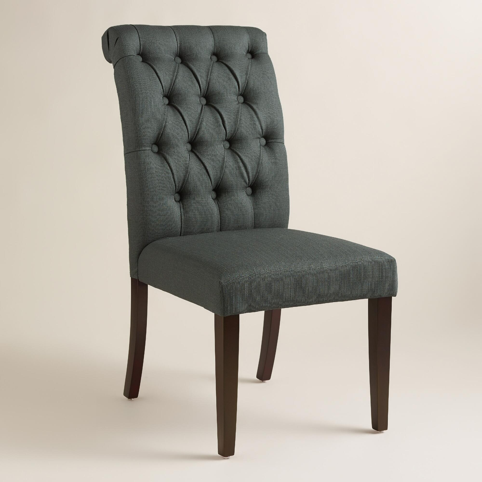 Dining Room Tufted Chair Blue Velvet Wingback Chair