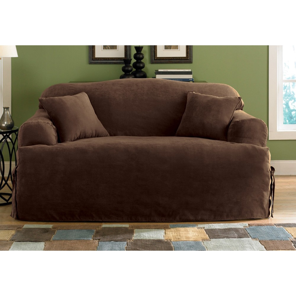 Decor stylish t cushion sofa slipcover for living room decoration ideas Loveseat slipcover