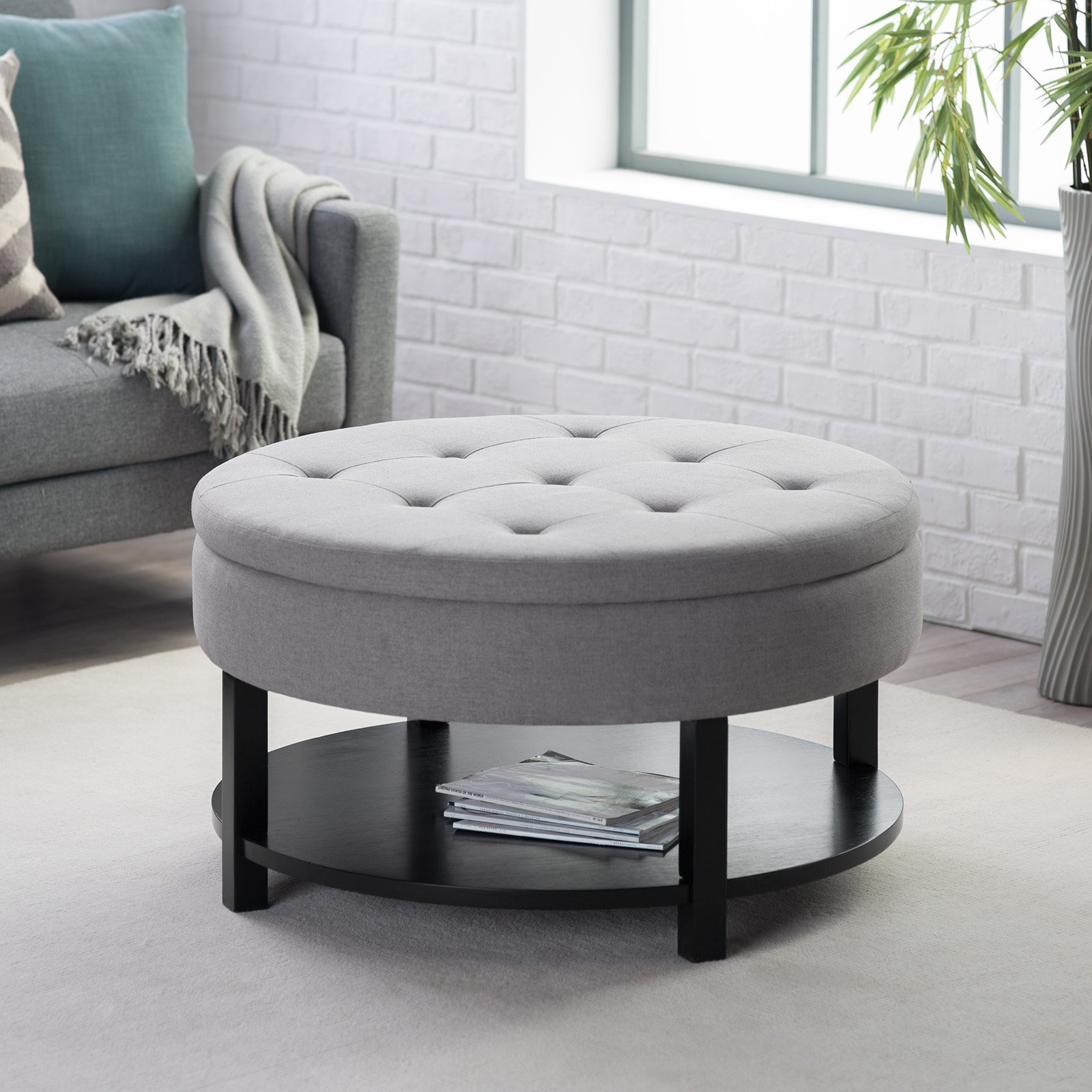 Target Ottoman Storage | Round Storage Ottoman | Cocktail Ottoman with Shelf