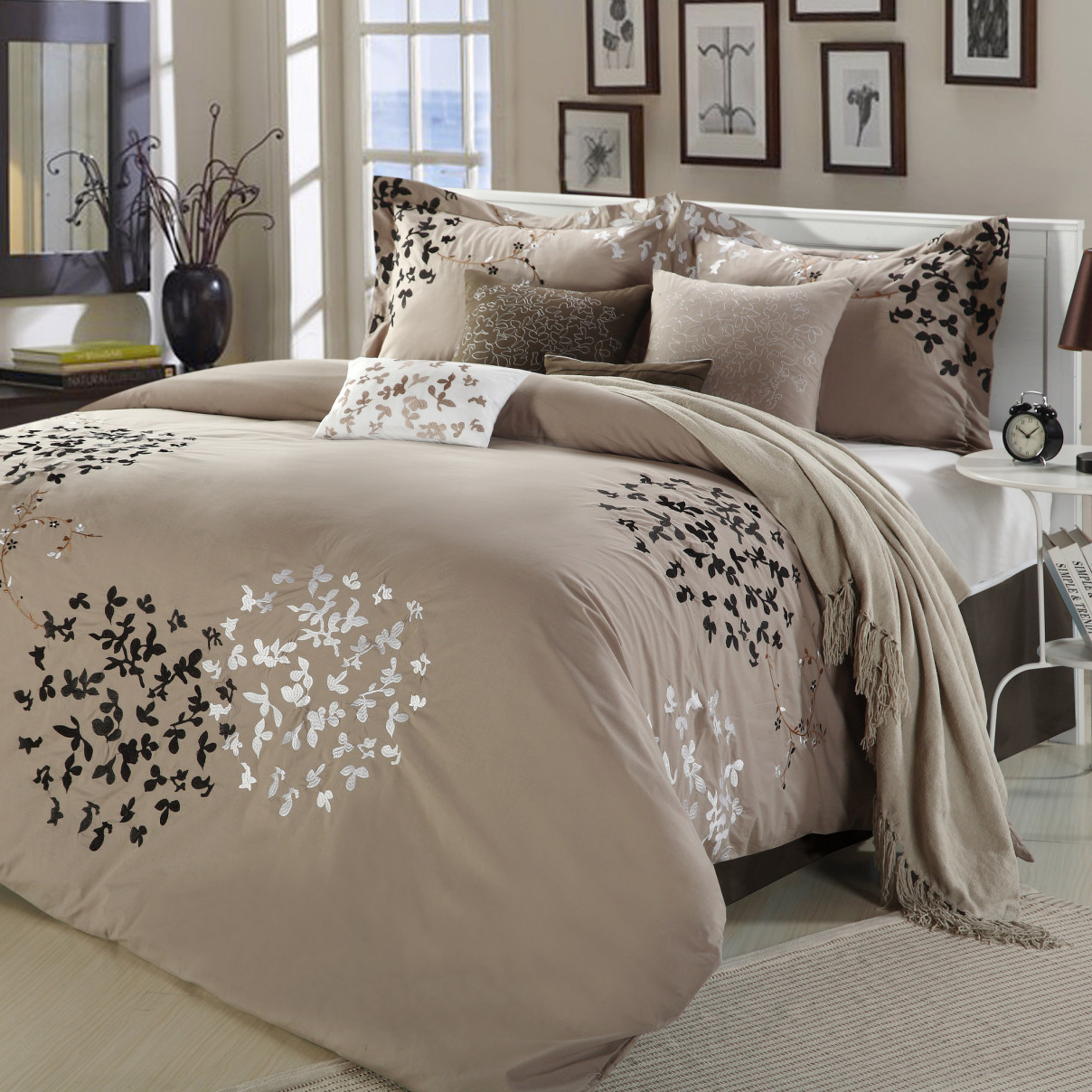 Taupe Comforter Sets Queen | Luxury Comforter Sets | Ruffled Bedding