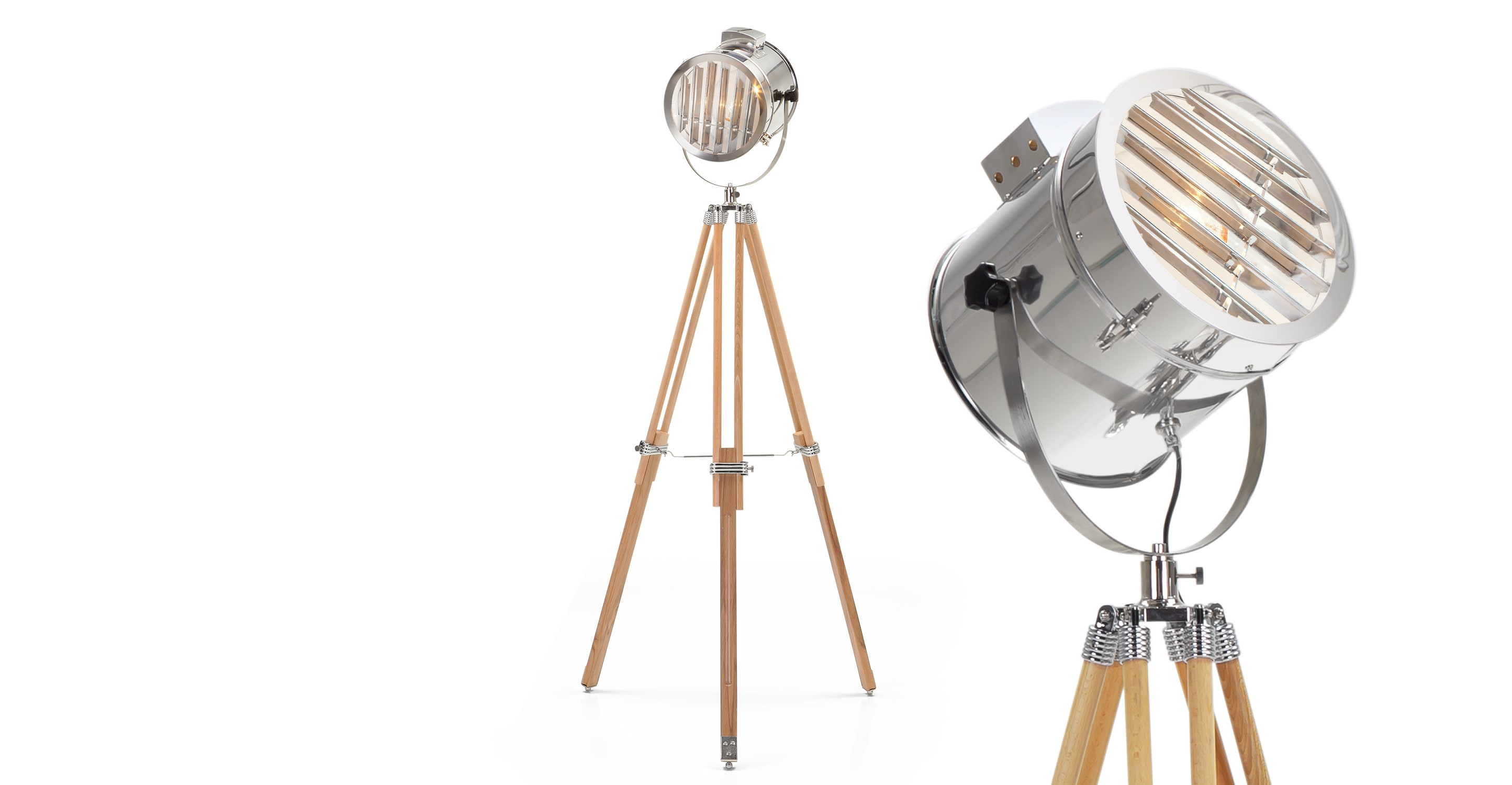 Tripod Lamp | Wooden Tripod | Arc Lamp Crate and Barrel