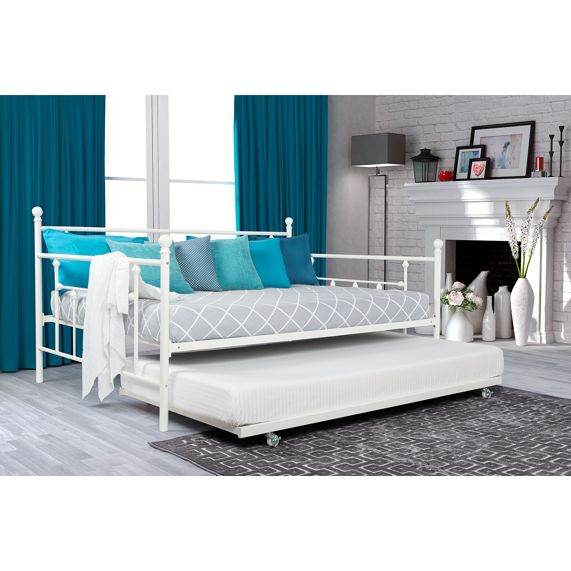 Trundle Daybed | White Metal Daybed | Full Size Daybed with Trundle