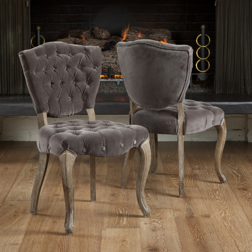 Tufted Dining Chair | Beige Dining Chairs | Grey Tufted Dining Chair
