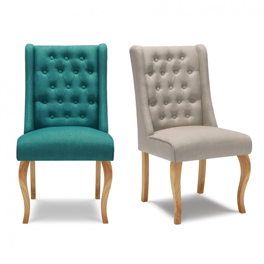 Tufted Dining Chair | Dark Grey Dining Chairs | Wingback Dining Chair