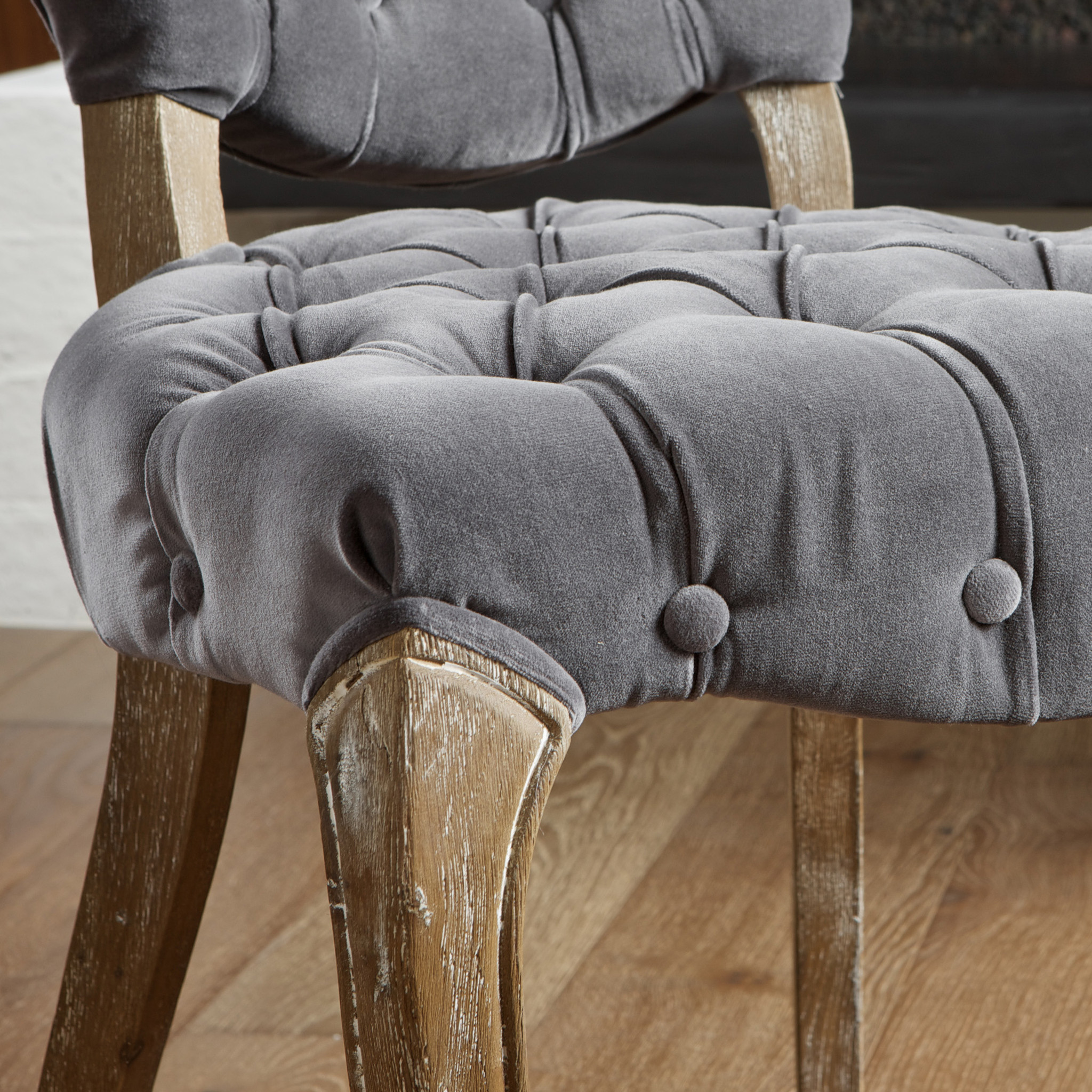 Tufted Dining Chair   Grey Leather Dining Chairs   Wayfair Dining Chairs