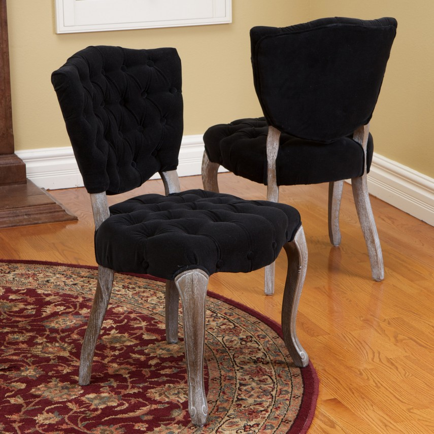 Tufted Dining Chair | Linen Parsons Chair | Fabric Dining Chairs