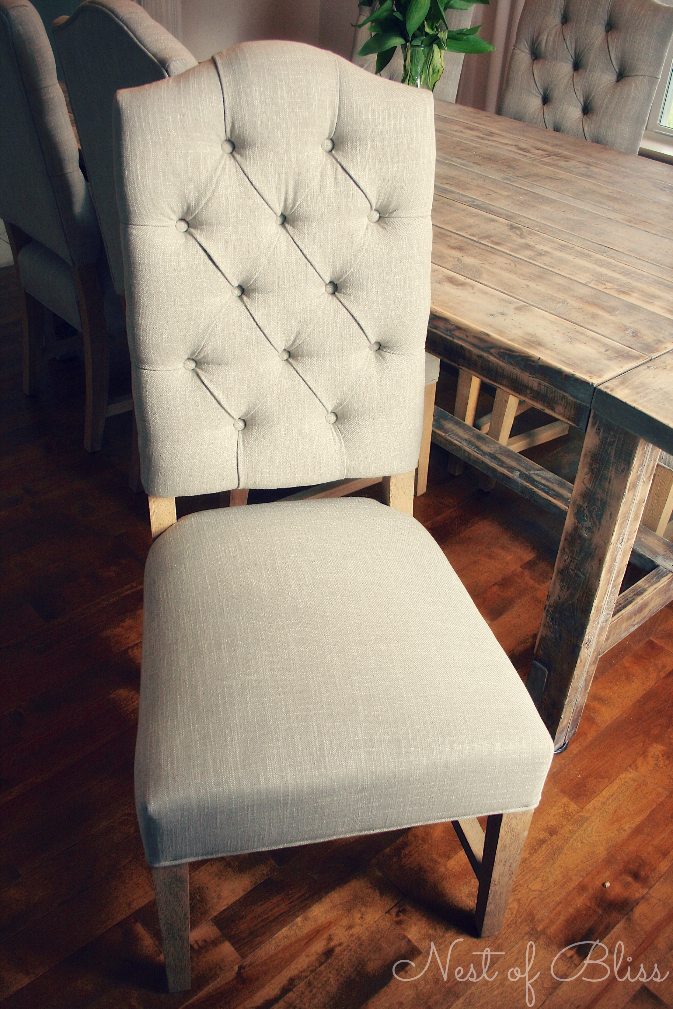 Tufted Dining Chair | Parsons Dining Chairs | Grey Leather Dining Chairs