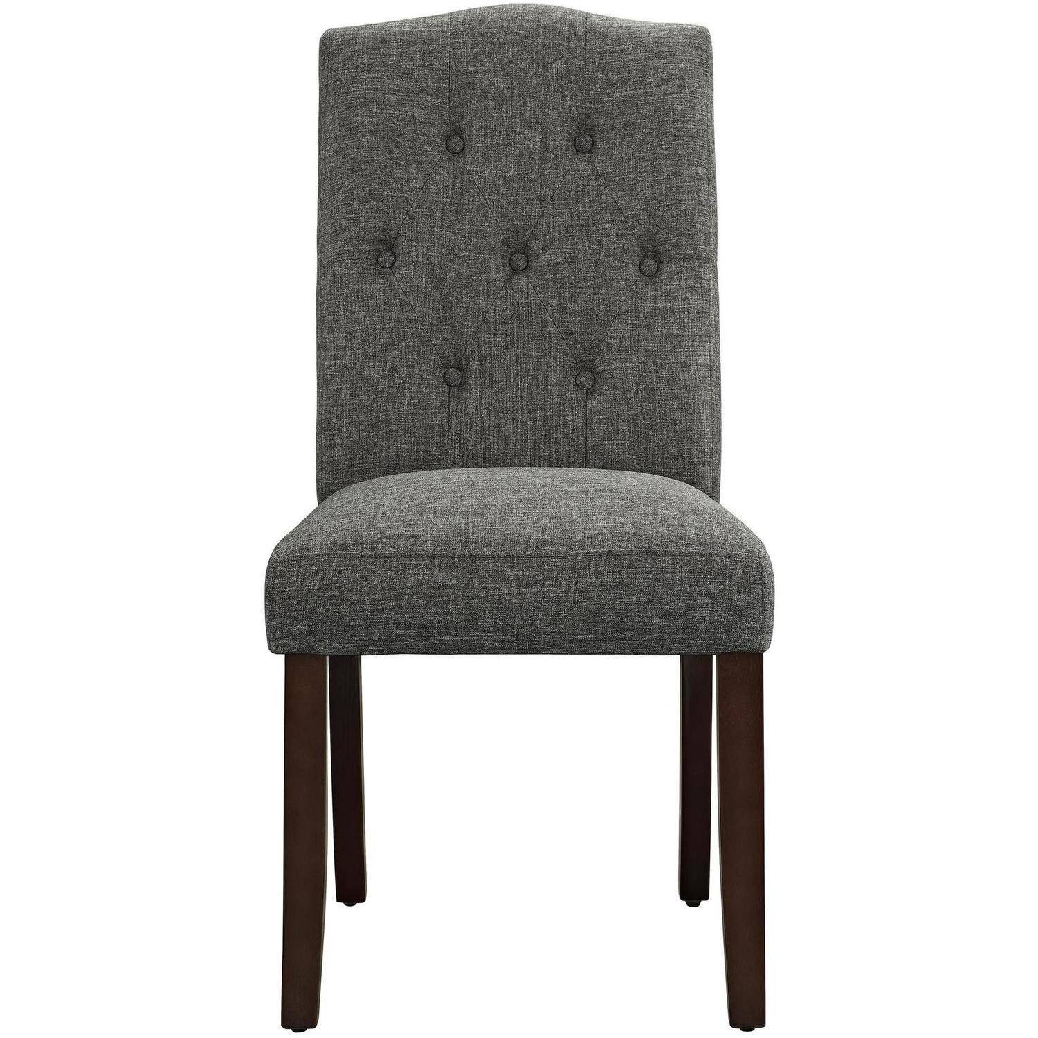 Tufted upholstered dining chairs twill tufted zoey for Dining room upholstered bench
