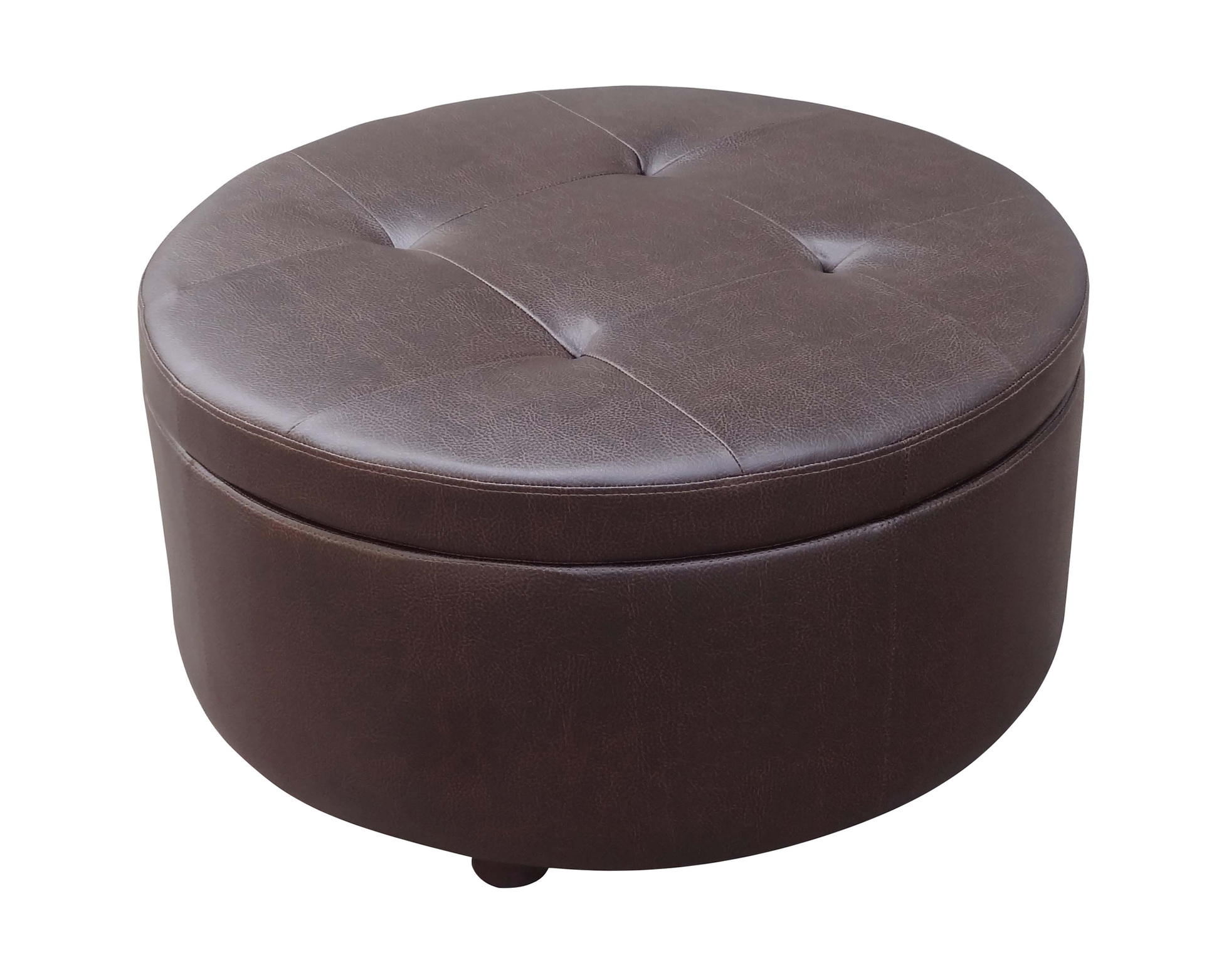 Tufted Leather Ottoman | Ottoman with Shelf Underneath | Round Storage Ottoman