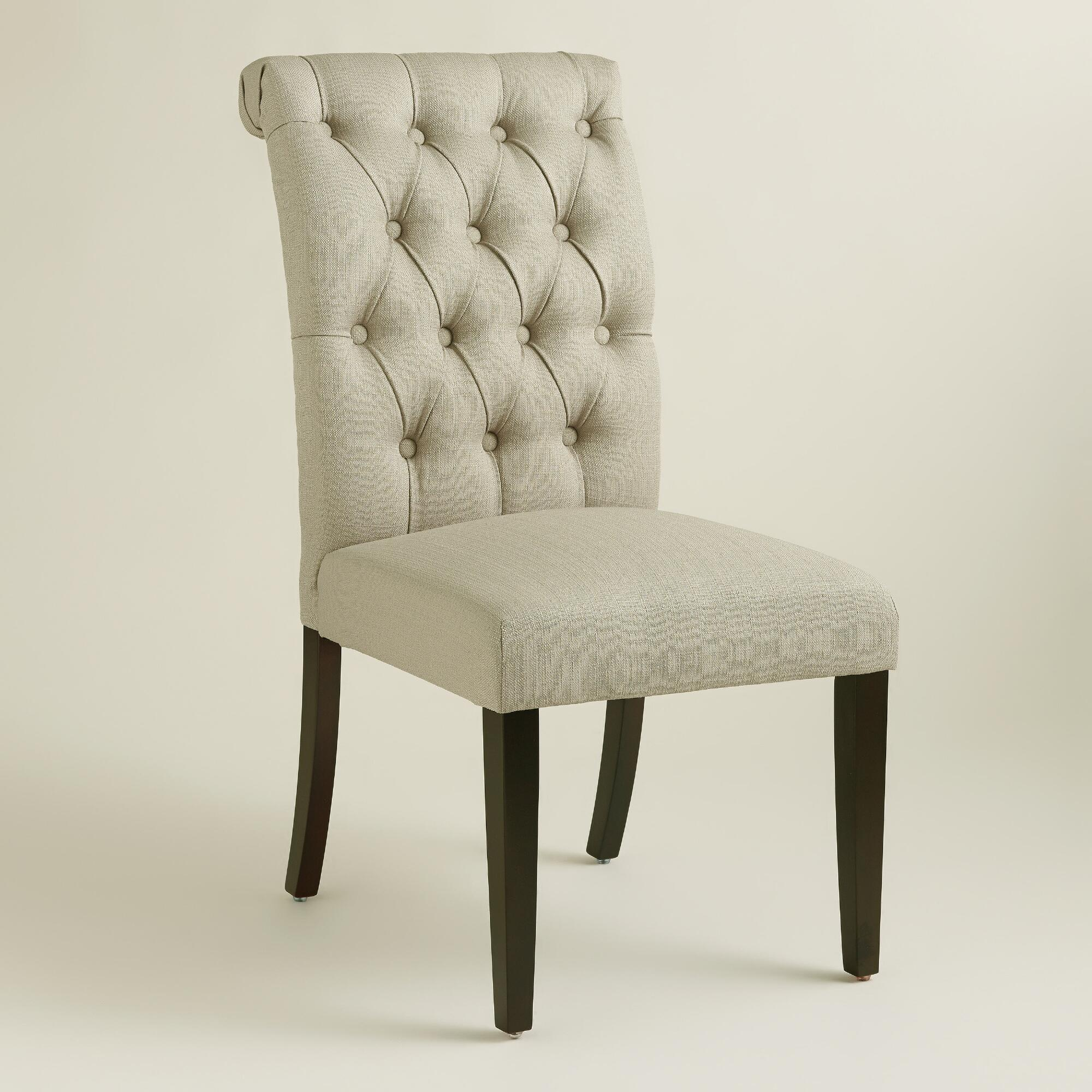 Tufted Side Chair | Tufted Chair | Grey Wingback Chair