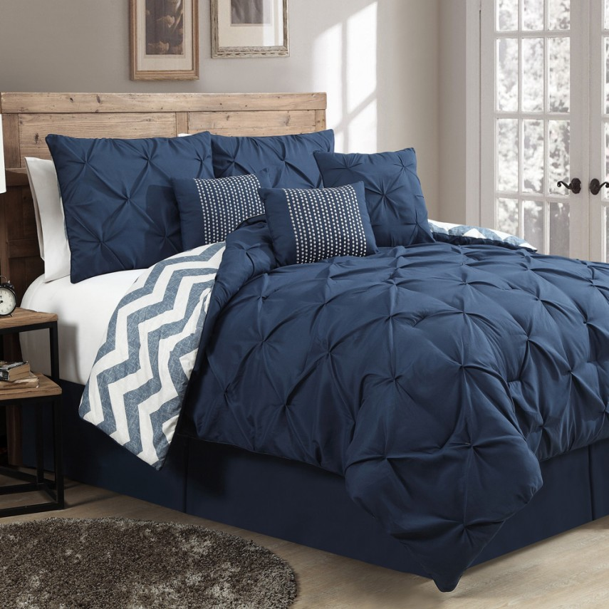 Twin Comforter Set | Navy Blue Comforter | Yellow Comforter Set
