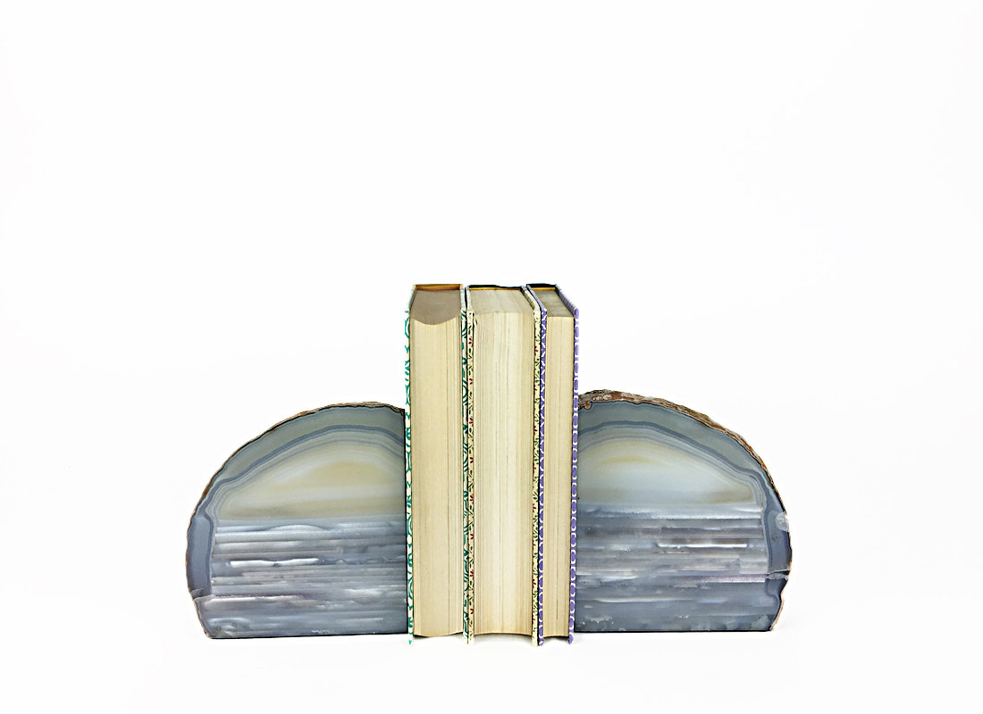 Decor Natural Geode Bookends For Bookcase Accessories