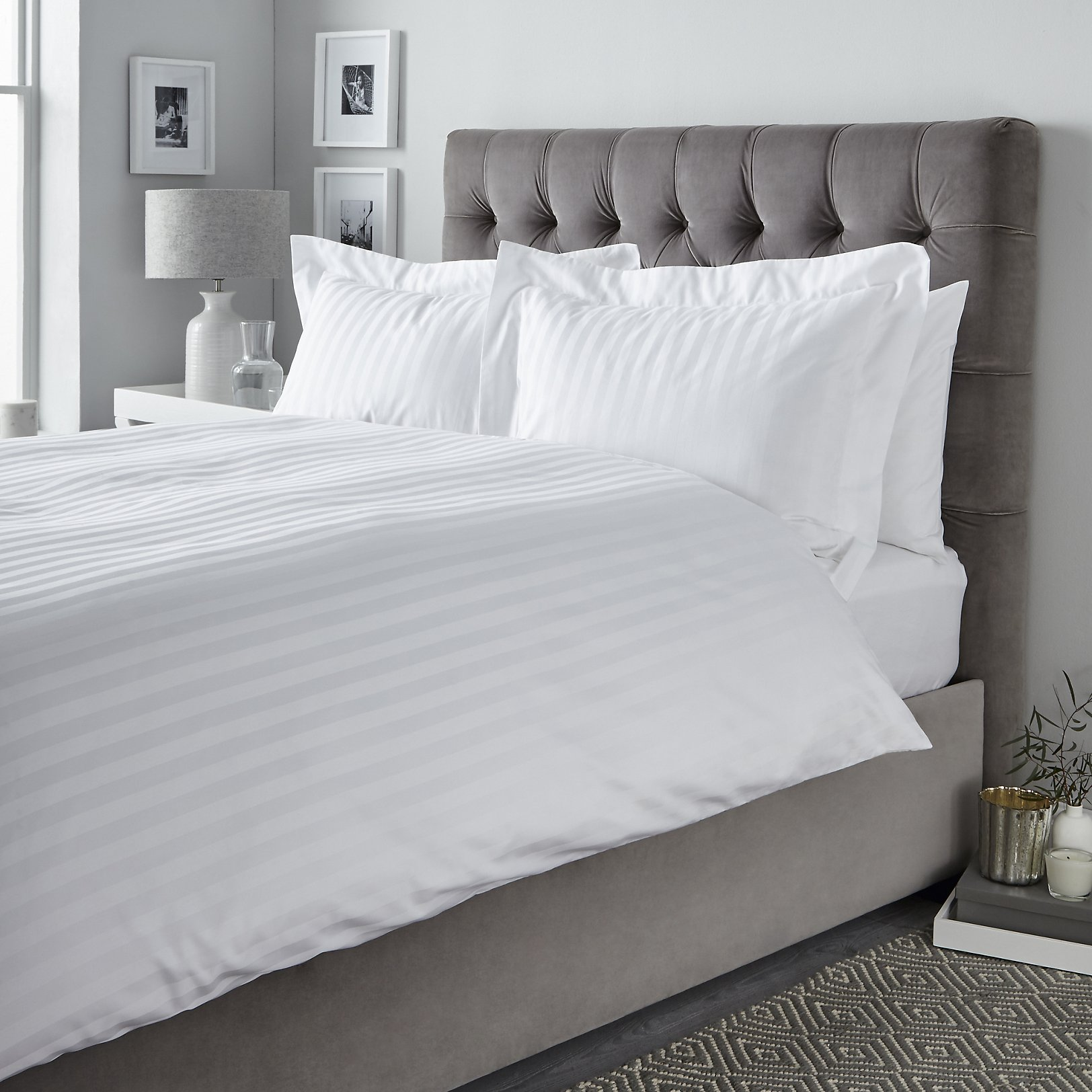 White and Grey Duvet Cover | White Ruched Duvet Cover | White Duvet Cover