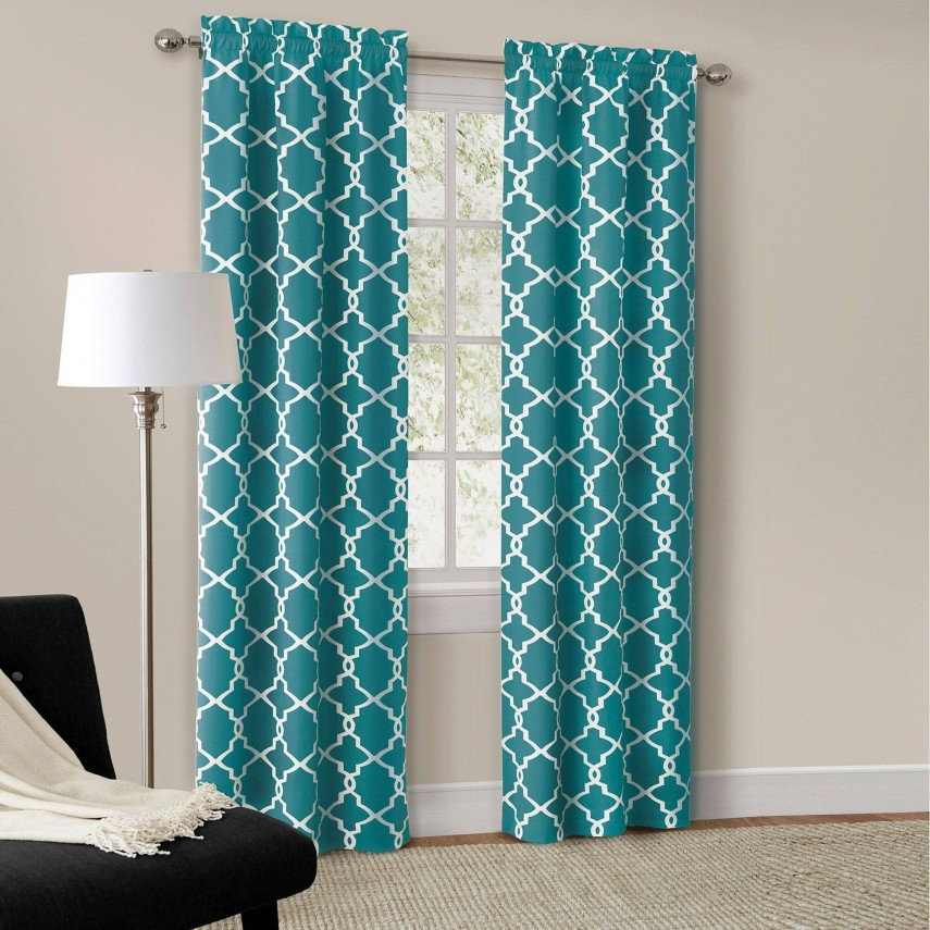 White Curtains With Navy Trim   Window Curtains And Drapes Ideas   Window Drapes