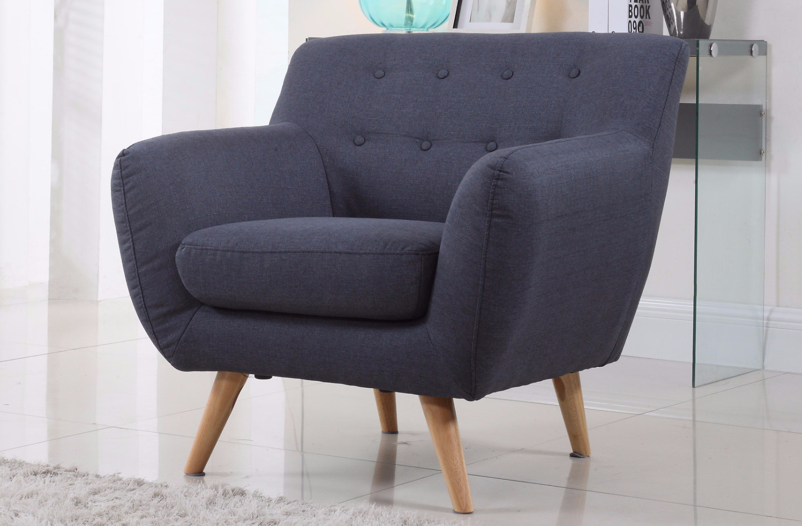 Wingback Armchair | Navy Blue Accent Chairs | Tufted Chair