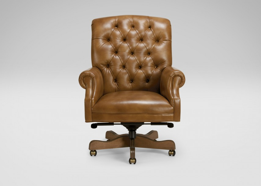 Wingback Chair With Ottoman | Tufted Leather Desk Chair | Tufted Chair