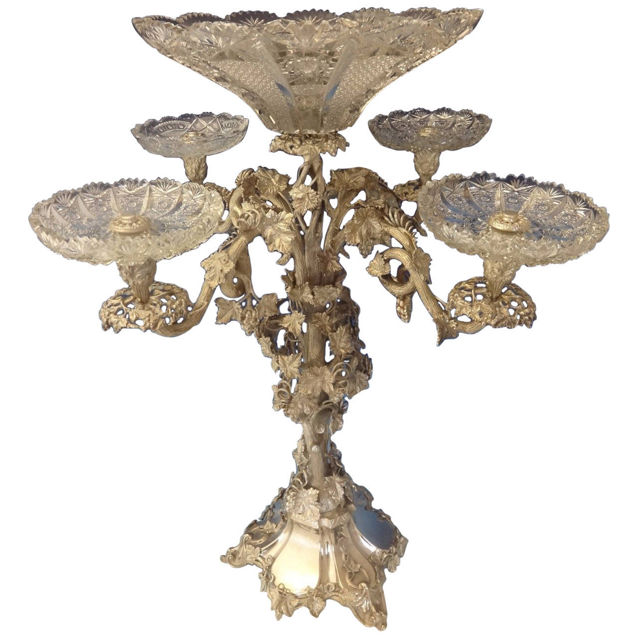 Using Antique Epergne for Dining Table Accessories Ideas: Wondrous Epergne Style | Simple Crystal Epergne